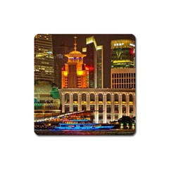 Shanghai Skyline Architecture Square Magnet by Simbadda