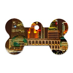 Shanghai Skyline Architecture Dog Tag Bone (two Sides)