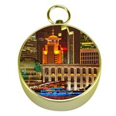 Shanghai Skyline Architecture Gold Compasses by Simbadda
