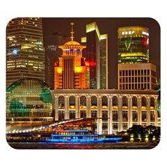 Shanghai Skyline Architecture Double Sided Flano Blanket (small)