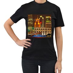 Shanghai Skyline Architecture Women s T Shirt (black) (two Sided)