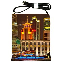 Shanghai Skyline Architecture Shoulder Sling Bags by Simbadda