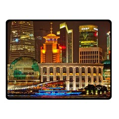 Shanghai Skyline Architecture Double Sided Fleece Blanket (small)