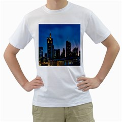 Frankfurt Germany Panorama City Men s T Shirt (white) (two Sided)