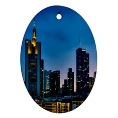 Frankfurt Germany Panorama City Oval Ornament (two Sides)