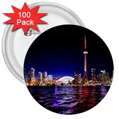Toronto City Cn Tower Skydome 3  Buttons (100 Pack)