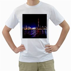 Toronto City Cn Tower Skydome Men s T Shirt (white) (two Sided)
