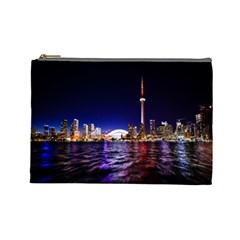 Toronto City Cn Tower Skydome Cosmetic Bag (large)
