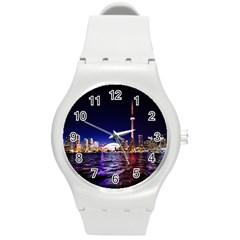 Toronto City Cn Tower Skydome Round Plastic Sport Watch (m)