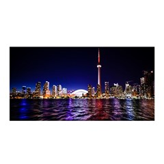 Toronto City Cn Tower Skydome Satin Wrap