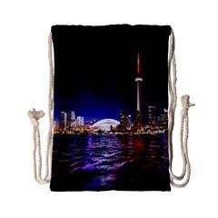 Toronto City Cn Tower Skydome Drawstring Bag (small)