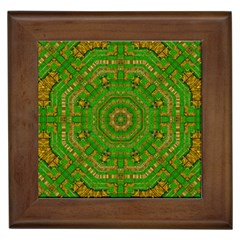 Wonderful Mandala Of Green And Golden Love Framed Tiles