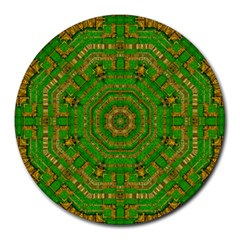 Wonderful Mandala Of Green And Golden Love Round Mousepads