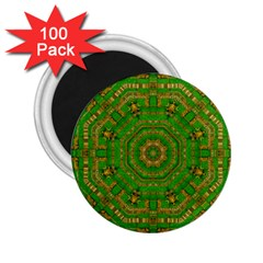Wonderful Mandala Of Green And Golden Love 2 25  Magnets (100 Pack)
