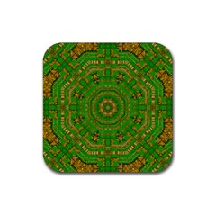 Wonderful Mandala Of Green And Golden Love Rubber Square Coaster (4 Pack)