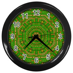 Wonderful Mandala Of Green And Golden Love Wall Clocks (black)
