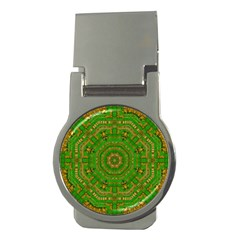 Wonderful Mandala Of Green And Golden Love Money Clips (round)