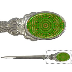 Wonderful Mandala Of Green And Golden Love Letter Openers