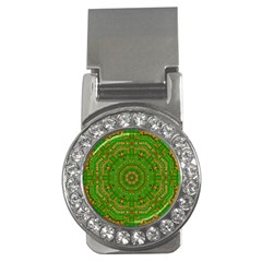 Wonderful Mandala Of Green And Golden Love Money Clips (cz)