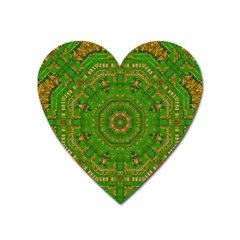 Wonderful Mandala Of Green And Golden Love Heart Magnet