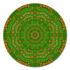 Wonderful Mandala Of Green And Golden Love Magnet 5  (round)