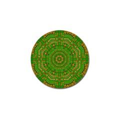Wonderful Mandala Of Green And Golden Love Golf Ball Marker