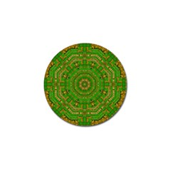 Wonderful Mandala Of Green And Golden Love Golf Ball Marker (4 Pack) by pepitasart