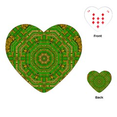 Wonderful Mandala Of Green And Golden Love Playing Cards (heart)