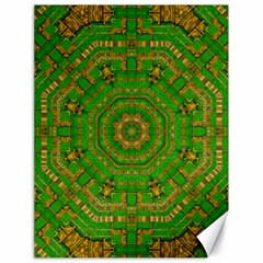 Wonderful Mandala Of Green And Golden Love Canvas 18  X 24