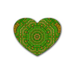 Wonderful Mandala Of Green And Golden Love Rubber Coaster (heart)