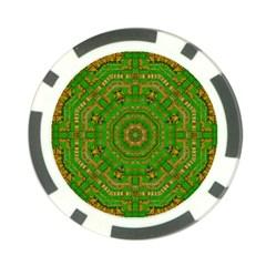 Wonderful Mandala Of Green And Golden Love Poker Chip Card Guard