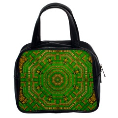 Wonderful Mandala Of Green And Golden Love Classic Handbags (2 Sides) by pepitasart
