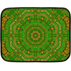 Wonderful Mandala Of Green And Golden Love Fleece Blanket (mini)