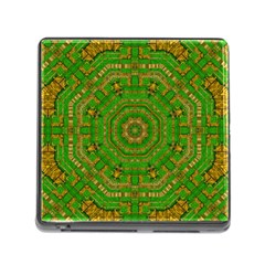 Wonderful Mandala Of Green And Golden Love Memory Card Reader (square)