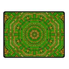 Wonderful Mandala Of Green And Golden Love Fleece Blanket (small)