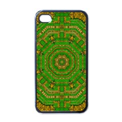 Wonderful Mandala Of Green And Golden Love Apple Iphone 4 Case (black)