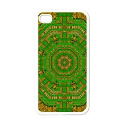Wonderful Mandala Of Green And Golden Love Apple Iphone 4 Case (white)