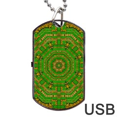 Wonderful Mandala Of Green And Golden Love Dog Tag Usb Flash (two Sides) by pepitasart