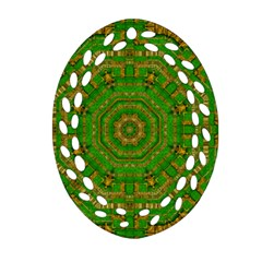 Wonderful Mandala Of Green And Golden Love Oval Filigree Ornament (two Sides) by pepitasart