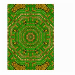Wonderful Mandala Of Green And Golden Love Large Garden Flag (two Sides) by pepitasart