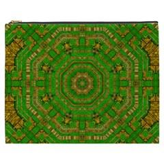 Wonderful Mandala Of Green And Golden Love Cosmetic Bag (xxxl)