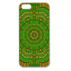 Wonderful Mandala Of Green And Golden Love Apple Seamless Iphone 5 Case (clear)