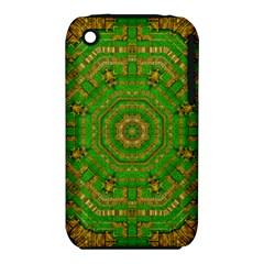 Wonderful Mandala Of Green And Golden Love Iphone 3s/3gs