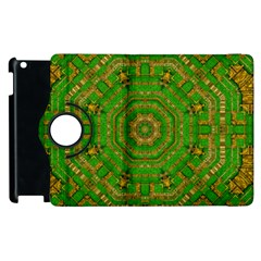 Wonderful Mandala Of Green And Golden Love Apple Ipad 2 Flip 360 Case