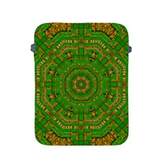Wonderful Mandala Of Green And Golden Love Apple Ipad 2/3/4 Protective Soft Cases