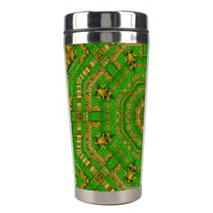 Wonderful Mandala Of Green And Golden Love Stainless Steel Travel Tumblers