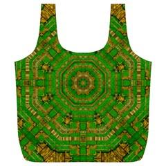 Wonderful Mandala Of Green And Golden Love Full Print Recycle Bags (l)