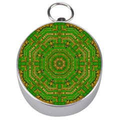 Wonderful Mandala Of Green And Golden Love Silver Compasses