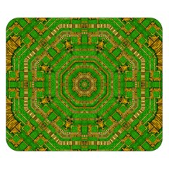 Wonderful Mandala Of Green And Golden Love Double Sided Flano Blanket (small)