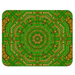 Wonderful Mandala Of Green And Golden Love Double Sided Flano Blanket (medium)